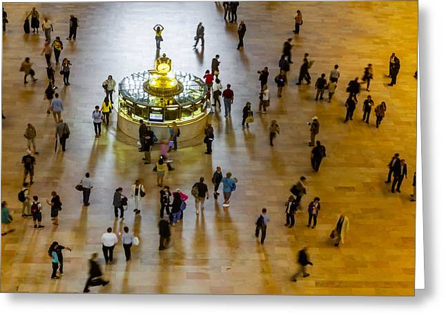 Grand Central Terminal Clock Birds Eye View  Greeting Card by Susan Candelario