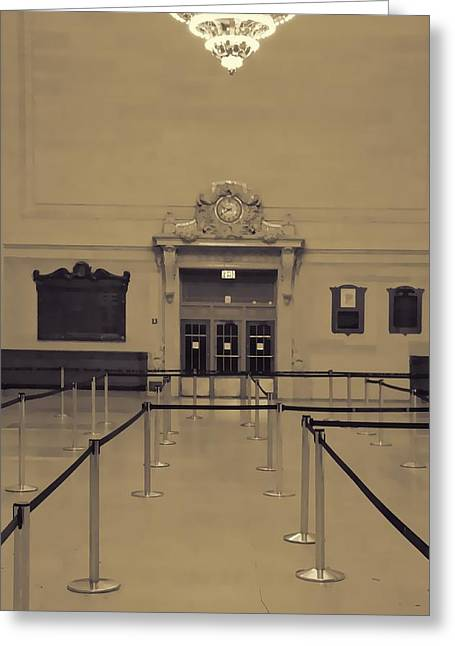 White Suit Greeting Cards - Grand Central Terminal Line Greeting Card by Dan Sproul