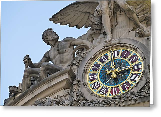 Grand Central Terminal Tiffany Clock Greeting Card by Susan Candelario