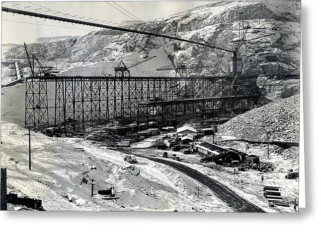 Spokane Greeting Cards - GRAND COULEE DAM CONSTRUCTION  c. 1936 Greeting Card by Daniel Hagerman