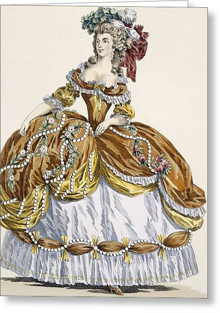 Pearls Drawings Greeting Cards - Grand Court Dress In New Style Greeting Card by Augustin de Saint-Aubin