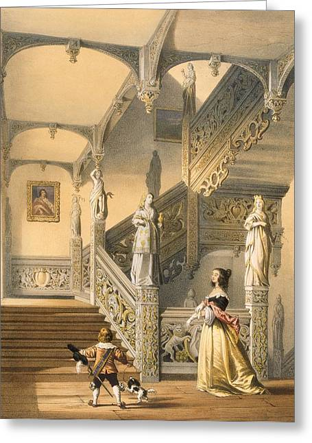 Interior Decorating Drawings Greeting Cards - Grand Elizabethan Staircase Greeting Card by Joseph Nash