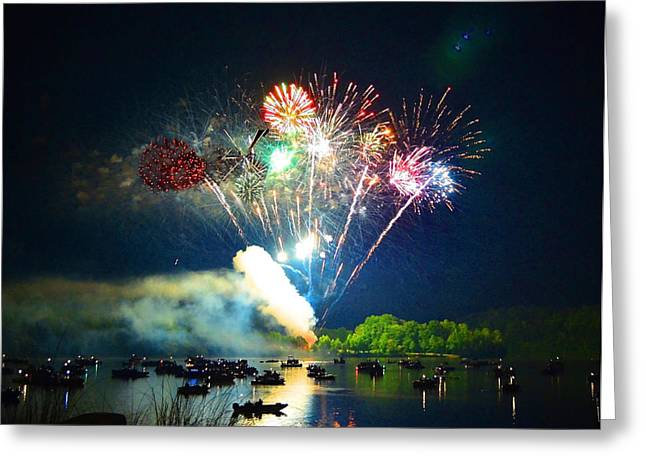 4th July Photographs Greeting Cards - Grand Finale Over The Lake Greeting Card by Sandi OReilly