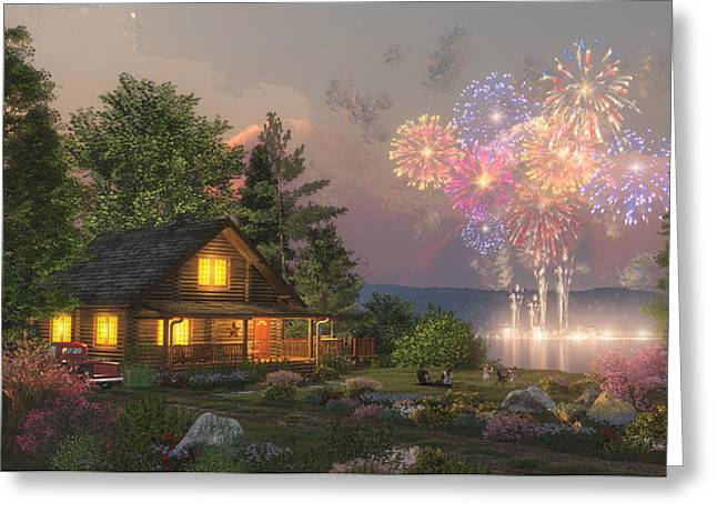 Best Sellers -  - Log Cabins Greeting Cards - Grand Finale Greeting Card by Randy Earles
