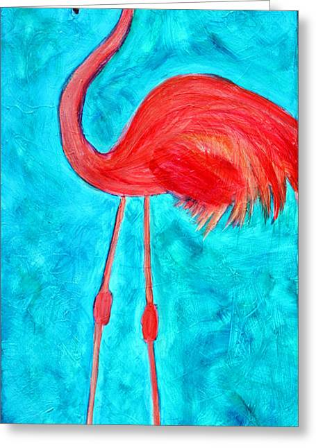 Salmon Paintings Greeting Cards - Grand Flamingo Greeting Card by Maura Satchell