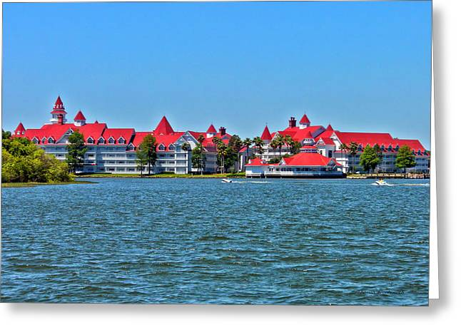 World Showcase Lagoon Greeting Cards - Grand Floridian Resort and Spa Greeting Card by Thomas Woolworth