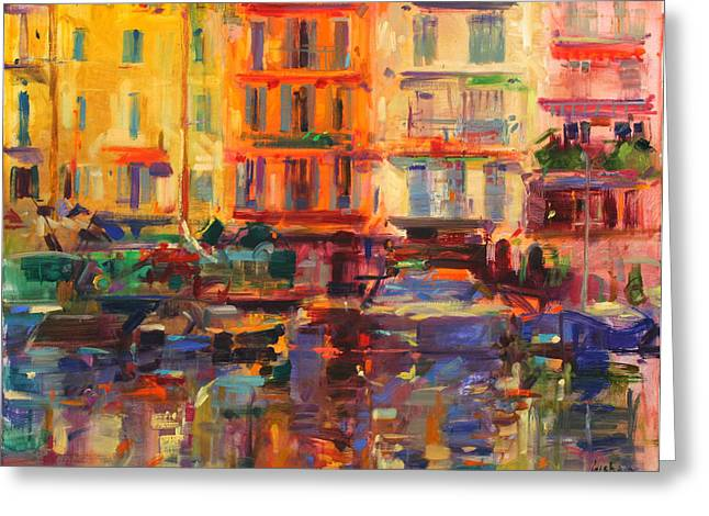 Azur Greeting Cards - Grand Harbour, Cannes Oil On Canvas Greeting Card by Peter Graham