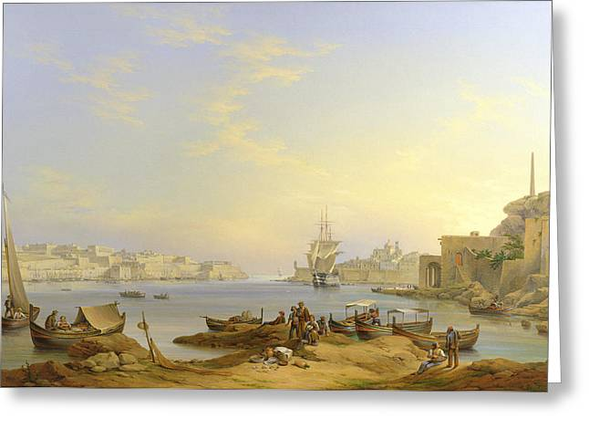 Sailing Ship Greeting Cards - Grand Harbour, Valletta, Malta, 1850 Greeting Card by John or Giovanni Schranz