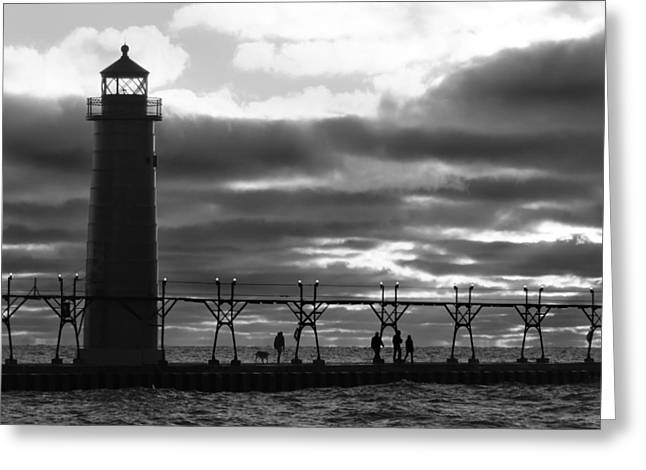 Dog Walking Greeting Cards - Grand Haven Light B W Greeting Card by David T Wilkinson