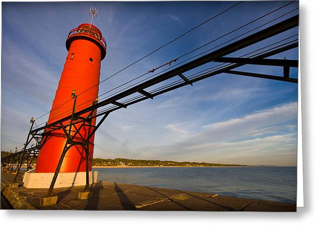Harbour Wall Greeting Cards - Grand Haven Lighthouse Greeting Card by Adam Romanowicz