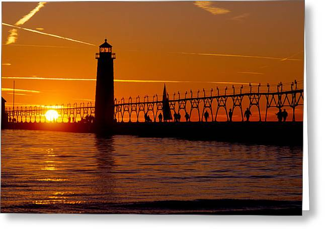 Evening Scenes Greeting Cards - Grand Haven Lighthouse At Sunset, Grand Greeting Card by Panoramic Images
