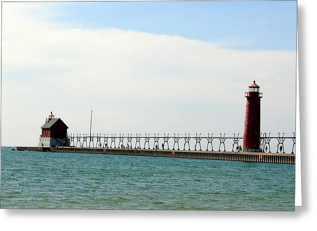 Ocaen Greeting Cards - Grand Haven Lighthouses Greeting Card by George Jones