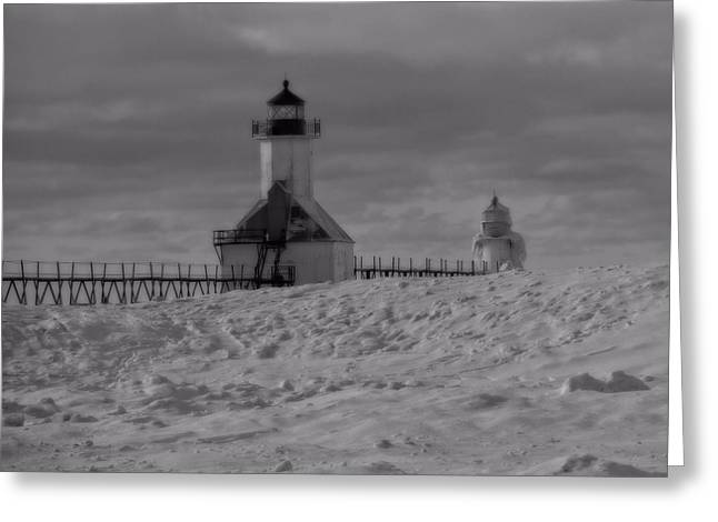 Temperature Greeting Cards - Saint Joseph Michigan Lighthouse In Winter Greeting Card by Dan Sproul