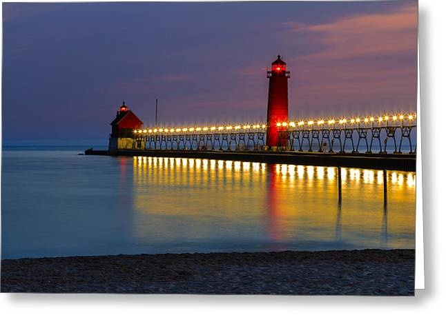 Jack R Perry Greeting Cards - Grand Haven South Pier Lighthouse Greeting Card by Jack R Perry