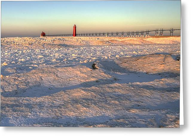 Grand Haven Winter Greeting Card by Twenty Two North Photography