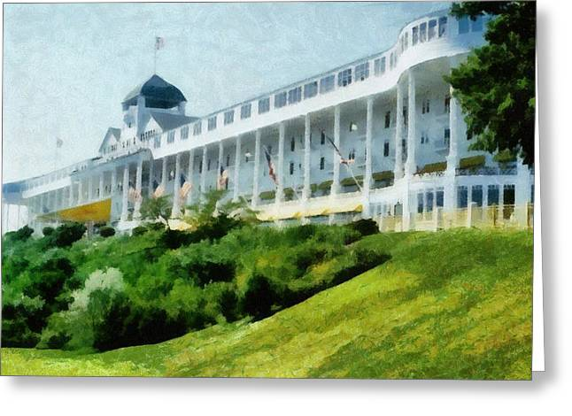 Vista Greeting Cards - Grand Hotel Mackinac Island ll Greeting Card by Michelle Calkins