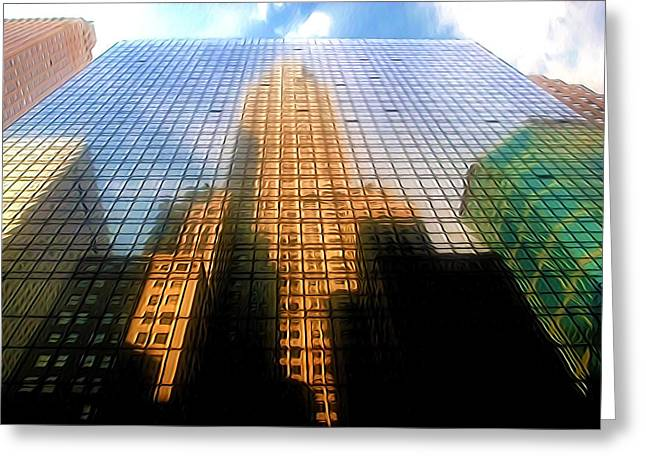 Hyatt Hotel Paintings Greeting Cards - Grand Hyatt Hotel with Reflection of the Chrysler Building  Greeting Card by Lanjee Chee
