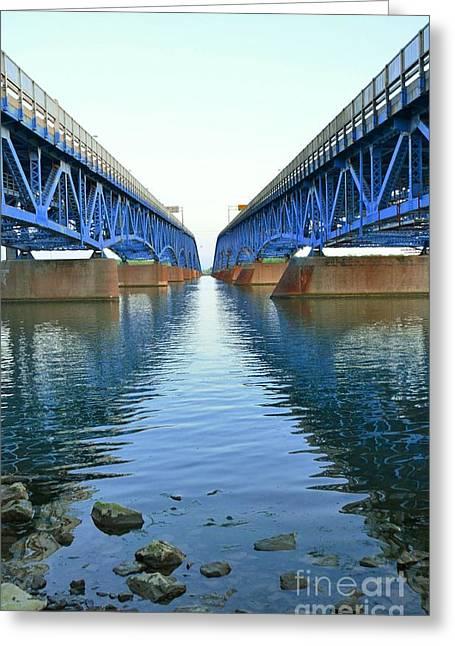 Grand Island Bridges Greeting Card by Kathleen Struckle