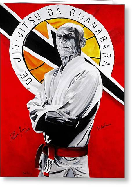 Family Art Greeting Cards - Grand Master Helio Gracie Greeting Card by Brian Broadway