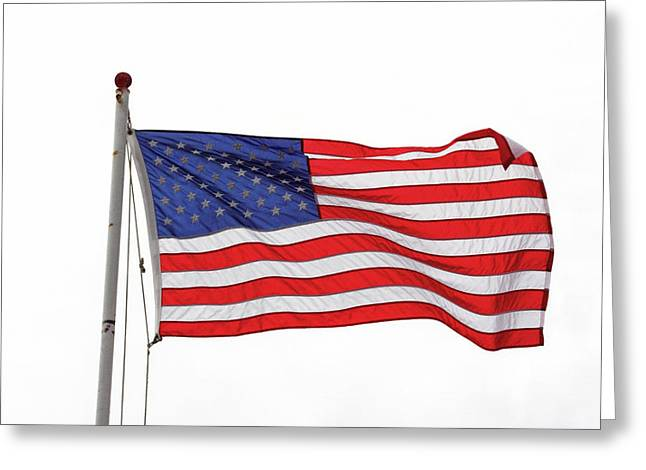 Stripes. Blowing Greeting Cards - Grand Old Flag Greeting Card by Art Block Collections