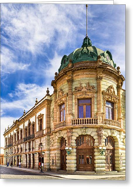 Mexican Culture Greeting Cards - Grand Old Theater In The Heart Of Oaxaca Greeting Card by Mark Tisdale