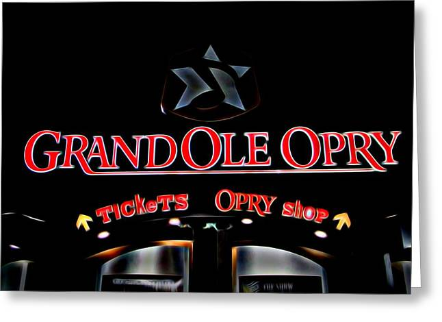 Award Mixed Media Greeting Cards - Grand Ole Opry Entrance Greeting Card by Dan Sproul