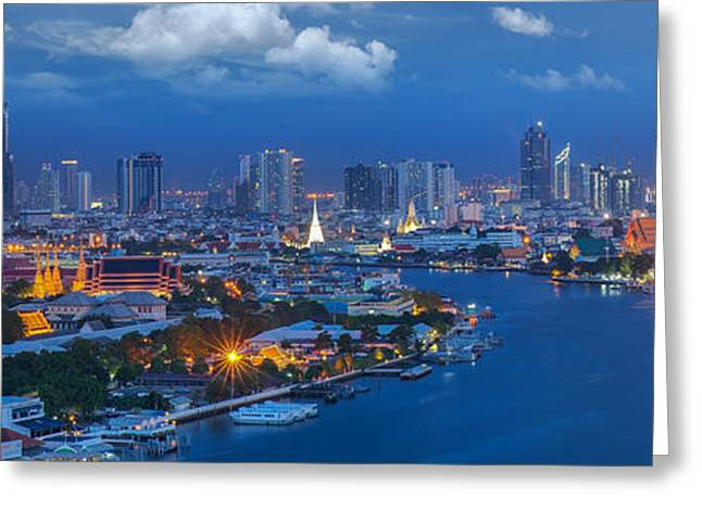 Office Space Greeting Cards - Grand palace at twilight in Bangkok Greeting Card by Anek Suwannaphoom