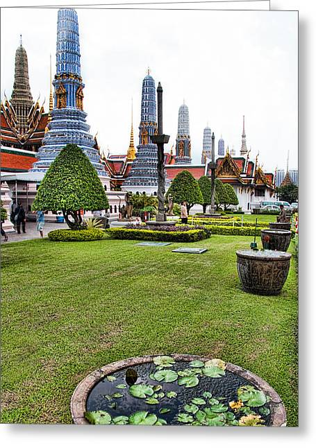 Royalty Greeting Cards - Grand Palace Temple in Bangkok 1 Greeting Card by David Smith