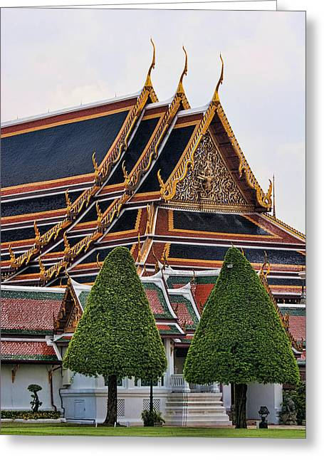 Royalty Greeting Cards - Grand Palace Temple in Bangkok 2 Greeting Card by David Smith