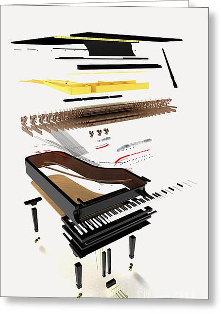 Disassembled Greeting Cards - Grand Piano, Exploded View Greeting Card by Nikid Design Ltd / Dorling Kindersley