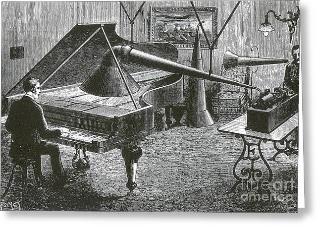 Edison Greeting Cards - Grand Piano Registered By Phonograph Greeting Card by Science Source