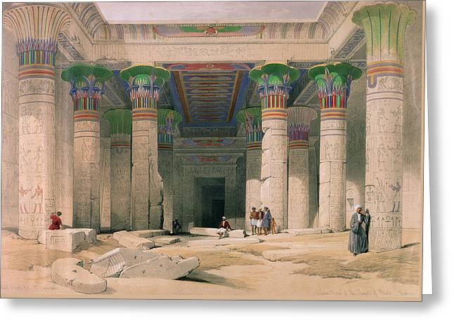 Grand Portico Of The Temple Of Philae, Nubia, From Egypt And Nubia, Engraved By Louis Haghe 1806-85 Greeting Card by David Roberts