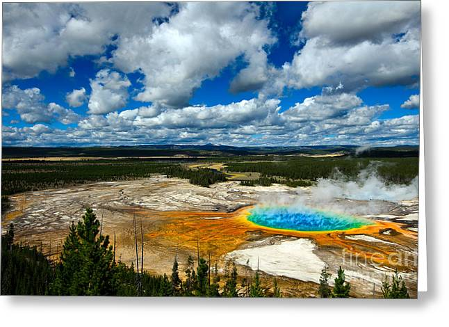 Hot Springs Yellowstone Midway Hot Springs Yellowstone Hot Greeting Cards - Grand Prismatic Pool Yellowstone National Park Greeting Card by Lane Erickson