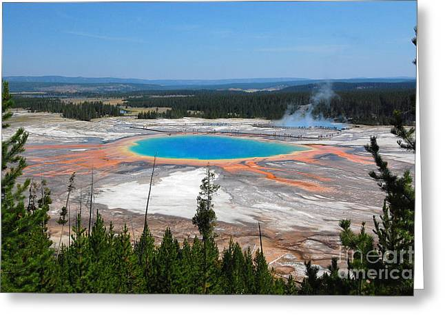 Hot Springs Yellowstone Midway Hot Springs Yellowstone Hot Greeting Cards - Grand Prismatic Spring from Above Greeting Card by Debra Thompson