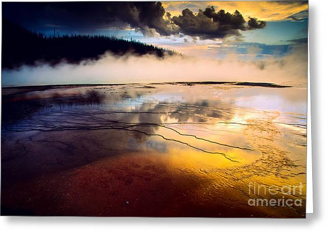 Geyser Greeting Cards - Grand Prismatic Spring Greeting Card by Inge Johnsson