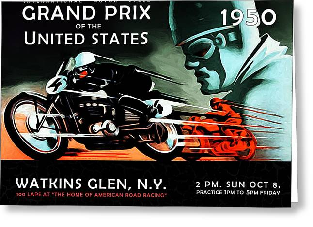 Motorcycle Poster Greeting Cards - Grand Prix 1950 Greeting Card by Mark Rogan