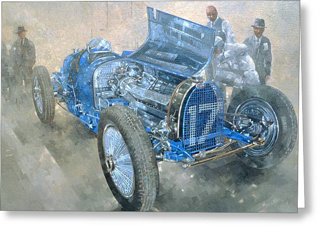 Blue Car. Greeting Cards - Grand Prix Bugatti Greeting Card by Peter Miller