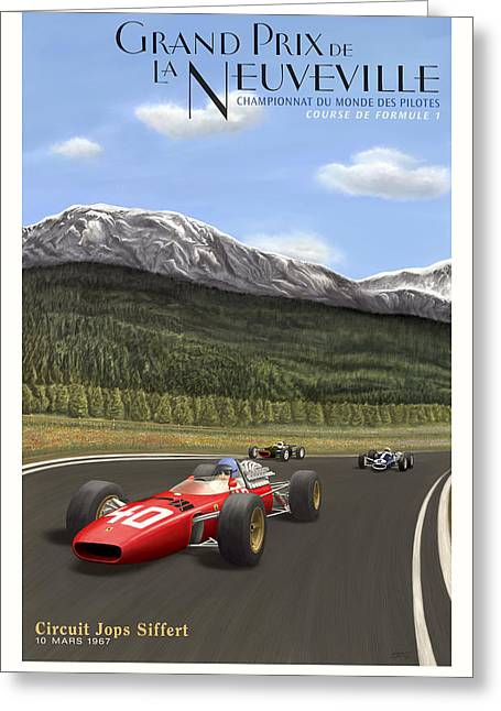 Rally Greeting Cards - Grand Prix de Neuveville 1967  Greeting Card by Nomad Art And  Design