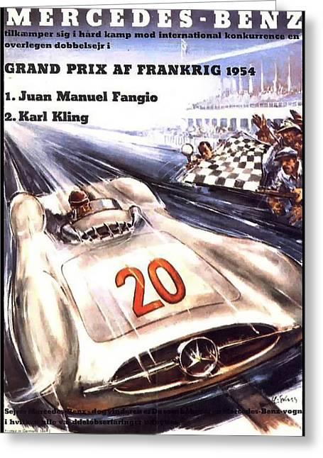 Grand Prix F1 Reims France 1954  Greeting Card by Georgia Fowler