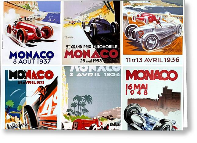 Old Automobile Greeting Cards - Grand Prix of Monaco Vintage Poster Collage Greeting Card by Don Struke