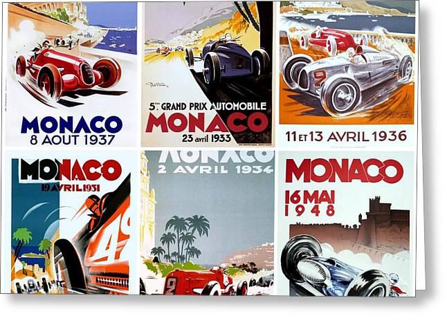 Grand Prix Of Monaco Vintage Poster Collage Greeting Card by Don Struke