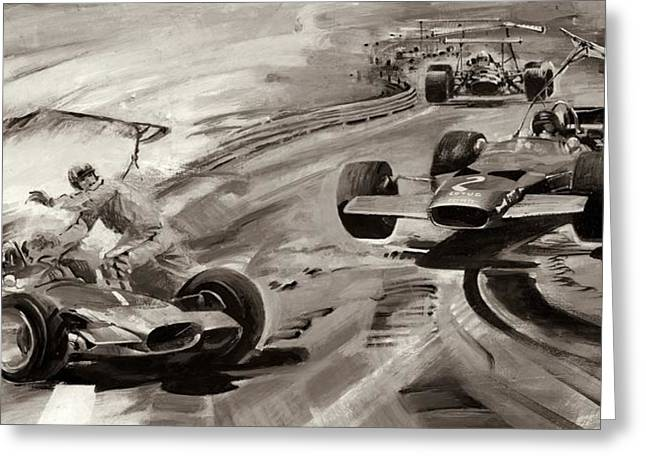 Grand Prix Problems Greeting Card by Graham Coton