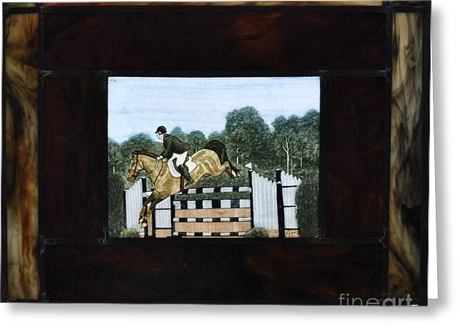 Horse Glass Greeting Cards - Grand Prix Greeting Card by Valerie Lynn