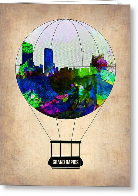 Rapids Greeting Cards - Grand Rapids Air Balloon Greeting Card by Naxart Studio