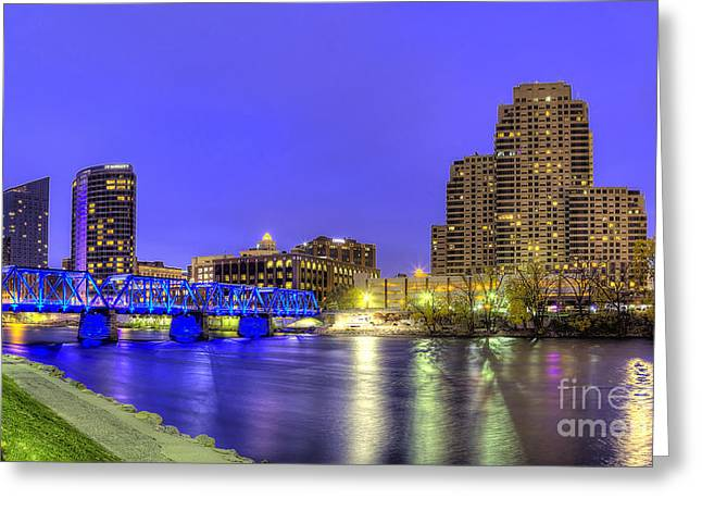 Grand River Greeting Cards - Grand Rapids at Dusk Greeting Card by Twenty Two North Photography