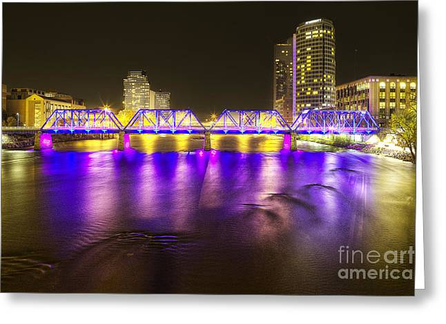 Grand River Greeting Cards - Grand Rapids at Night Greeting Card by Twenty Two North Photography