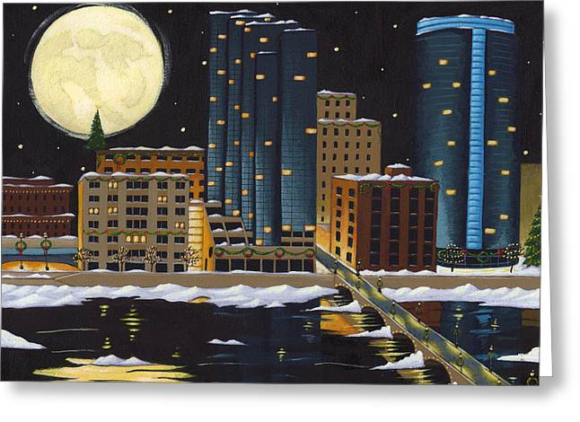 Rapid Paintings Greeting Cards - Grand Rapids Greeting Card by Christy Beckwith