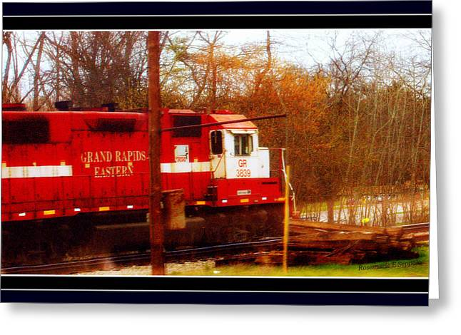 Michigan Pyrography Greeting Cards - Grand Rapids Eastern A Old Train Engine Greeting Card by Rosemarie E Seppala