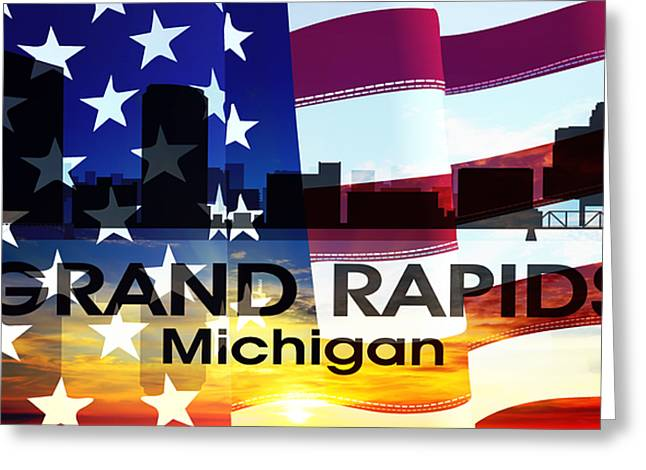 Rapids Mixed Media Greeting Cards - Grand Rapids MI Patriotic Large Cityscape Greeting Card by Angelina Vick