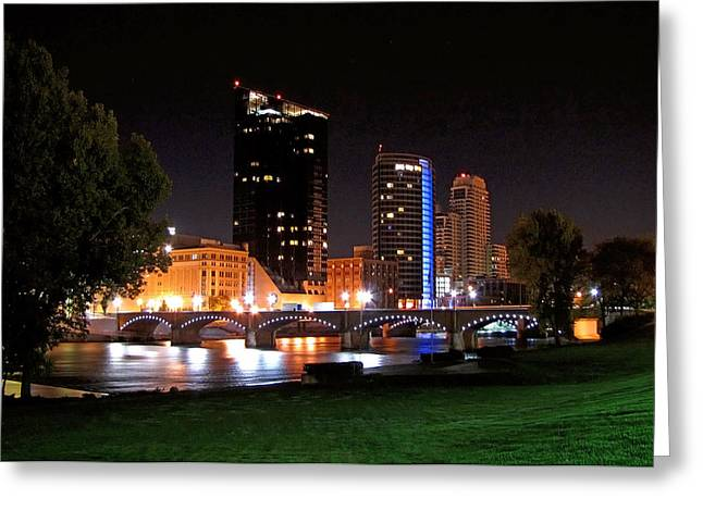 Grand River Greeting Cards - Grand Rapids Michigan At Dusk Greeting Card by Debra  Miller